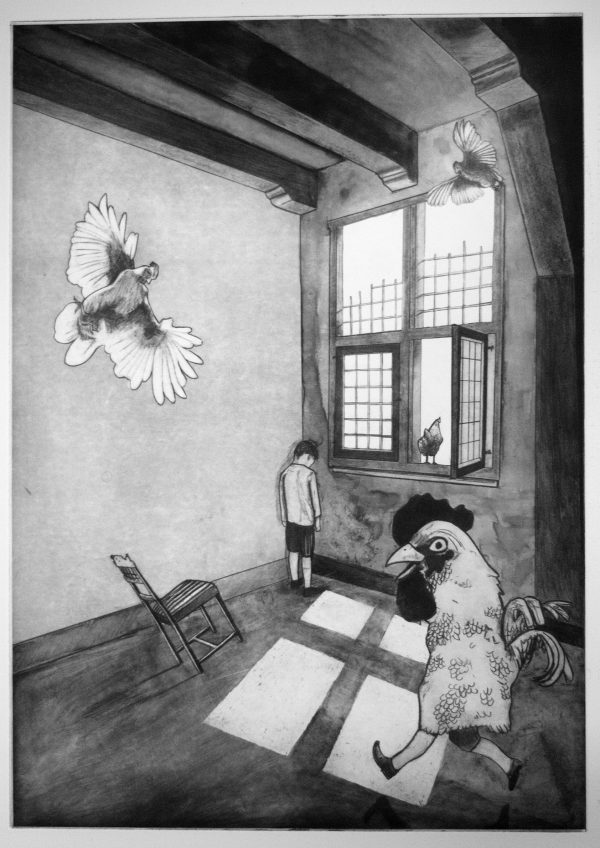 Sjoerd Tegelaers, Dont forget, to forget me 2016, a3 sized photopolymer etching, oplage 10