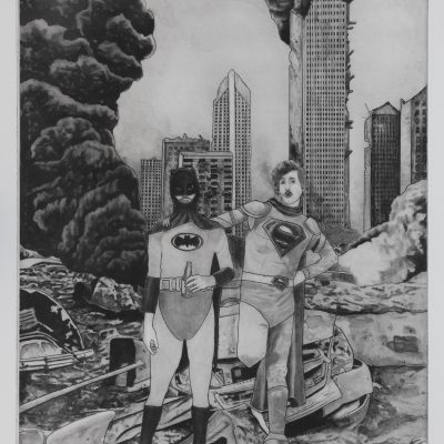 Sjoerd Tegelaers, We did it Patrick! We saved the city! 42x30cm, photopolymer etching, 2019